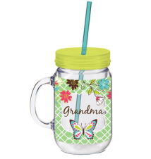 20 oz. Grandma Double Walled Mason Jar Insulated Cup with Straw