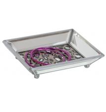 Desi Mirrored Glass Jewelry Dish Tray- Leopard Print