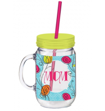 20 oz. Mom Double Walled Mason Jar Insulated Cup with Straw
