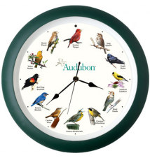 Audubon Singing Bird Clock - 13 inch green
