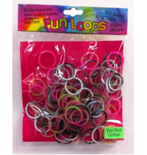 Fun Loops Tye Dye Glitter Bands #111- Multi Color