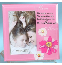 7* x 7* Pink With Flowers My Mom Photo Frame