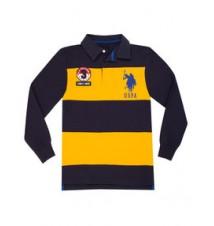 Boys Long-Sleeve Rugby Stripe Polo Shirt