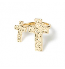 Double Hammered Cross Open Band Ring Claires