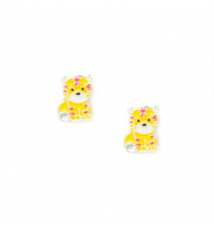 Enamel Tiger Stud Earrings Claires