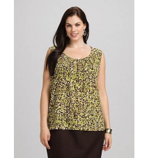 JONES STUDIO Plus Size Pleated Animal Print Tank Dress Barn