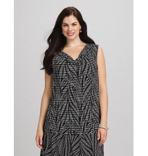 JONES STUDIO Plus Size Leaf Print Drape Neck Tank Dress Barn