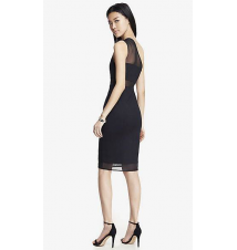 ONE SHOULDER MESH INSET SHEATH DRESS Express