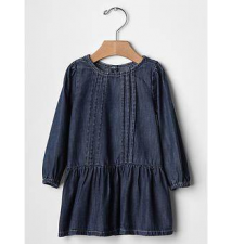 Denim pintuck dress Gap