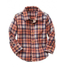 Plaid double-weave shirt Gap