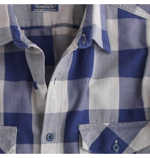 Herringbone flannel shirt in navy gingham J Crew