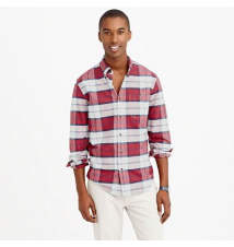 Slim chamois elbow-patch shirt in heather plaster plaid J Crew