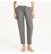 Cropped pajama pant in pinstripe flannel J Crew