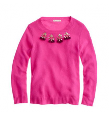 Girls' jeweled pom-pom sweater J Crew