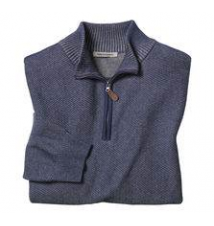Quarter-Zip Diagonal Stitch Sweater Johnston & Murphy