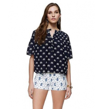 Ibiza Print Pintuck Blouse Juicy Couture