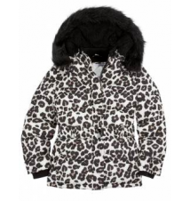 Belted Animal Print Puffer Coat with Faux Fur Hood Justice