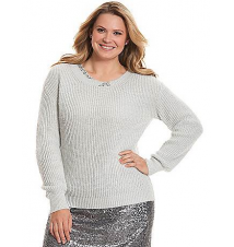 Embellished twist-neck sweater Lane Bryant