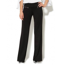 7th Avenue Wide-Leg Pull-On Pant - Zip Detail - Average New York & Company