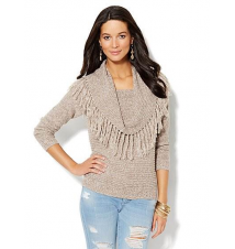 Fringed Cowl-Neck Sweater New York & Company