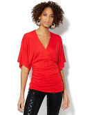 Faux-Wrap Shirred Tunic New Yo..
