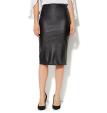 Faux-Leather Front Ponte Skirt New York & Company