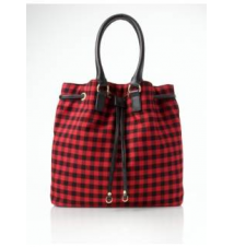 Buffalo Plaid Flannel Drawstring Shoulder Bag Talbots
