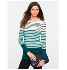 Cashmere Colorblocked Engineered Stripes Sweater Talbots