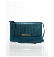 Leather & Croc-Embossed Top-Flap Shoulder Bag Talbots