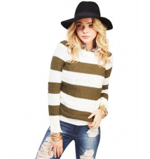 Rugby Stripe Waffle Knit Sweater The Wet Seal