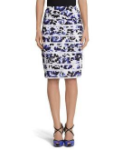 Tiered Floral Pencil Skirt Whi..