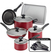 Farberware 15-pc. Dishwasher-Safe Nonstick Cookware Set-Red JCPenney
