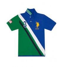 Boys USA Diagonal Stripe Polo Shirt