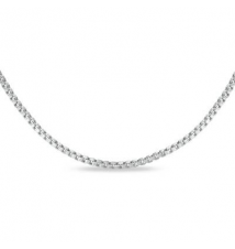 14K White Gold .85mm Box Chain Necklace - 22