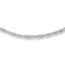 10K White Gold 1.7mm Singapore Chain Necklace - 20
