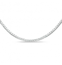 14K White Gold 0.7mm Adjustable Box Chain Necklace - 22