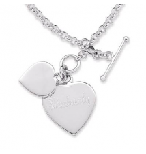 Engraved Double Heart Toggle Bracelet in Sterling Silver Zales
