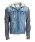 Hooded Knit Sleeve Denim Jacke..