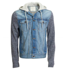 Hooded Knit Sleeve Denim Jacket Aeropostale