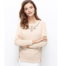 Jeweled Side Zip Sweatshirt Ann Taylor