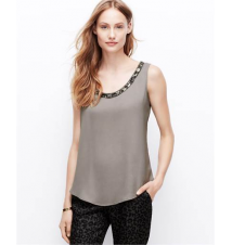 Embellished Neck Shell Ann Taylor
