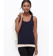 Layered Crepe Tank Ann Taylor