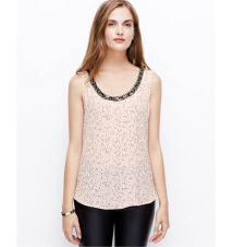 Petite Flecked Embellished Neck Shell Ann Taylor