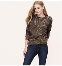 Petite Embellished Paisley Sweatshirt Ann Taylor Loft