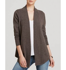 AQUA Cashmere Cardigan - Open Ribbed Trim Bloomingdale's