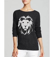 AQUA Cashmere Sweater - Lion Intarsia Bloomingdale's