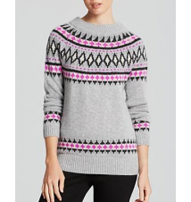 AQUA Cashmere Sweater - Fairisle Zip Shoulder Crewneck Bloomingdale's