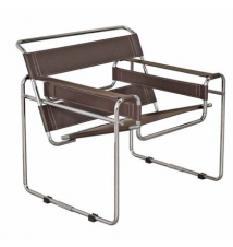 Baxton Studio Wassily-Style Leather and Chromed Steel Chair Brookstone