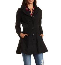 Faux Leather Trim Walker Coat Charlotte Russe