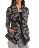 Belted Woven Chevron Wrap Coat..